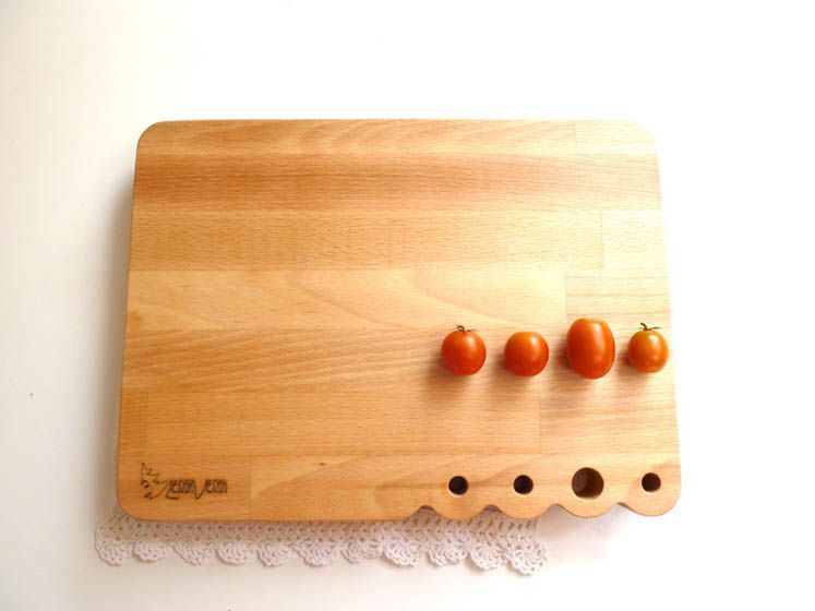 Wooden serving and cutting board in contemporary design