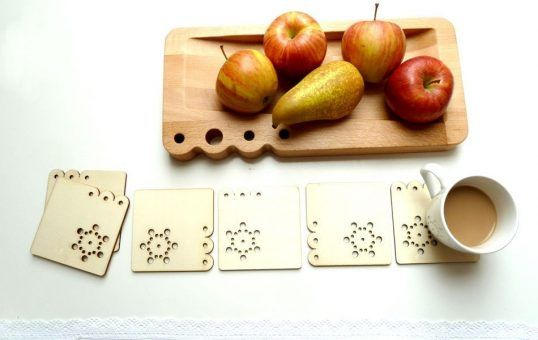 Set of wood coasters from dowry collection