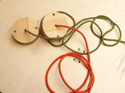 Wooden lamp cables in different colours